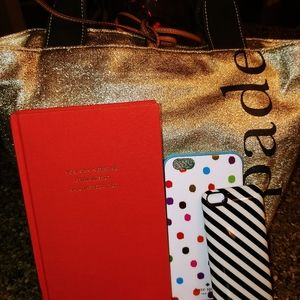 Kate Spade bundle gold tote, journal, cell cases